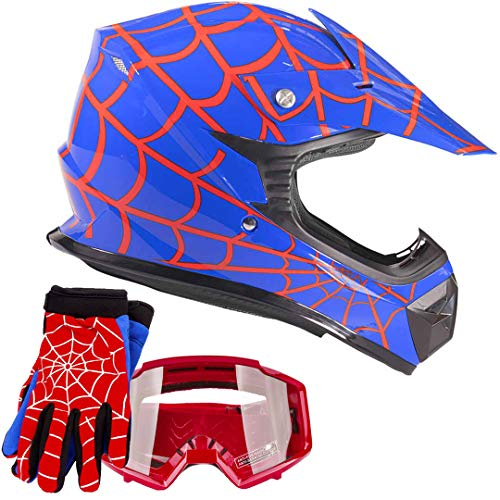 Youth Kids Offroad Gear Combo Helmet Gloves Goggles DOT Motocross ATV Dirt Bike Motorcycle Blue Spiderman - XL