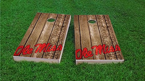 Tailgate Pro's Ole Miss Rebels Distressed Cornhole Boards, ACA Corn Hole Set, Comes with 2 Boards and 8 Corn Filled Bags