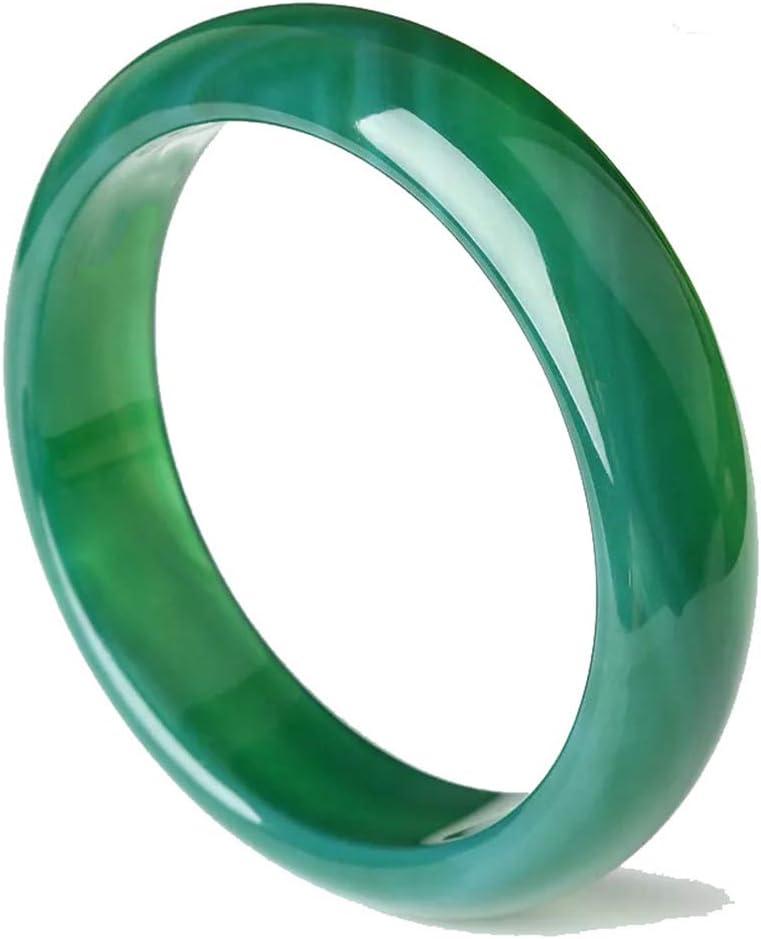 Olydmsky Brazalete de Jade para Mujer, Pulsera de calcedonia de Tipo de Hielo Natural Pulsera de Jade de ágata Verde Hierba Tipo de Hielo Pulsera para Mujer Regalo de Madre e Hija 58-66 mm