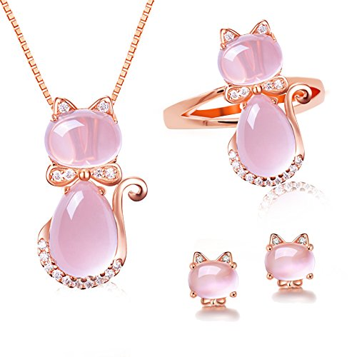 Uloveido Light Pink Crystal Cubic Zirconia Post Stud Earrings Charm Pendant Necklace Rings Animal Cat Jewelry Set Teen Girls (Size 7) Y427