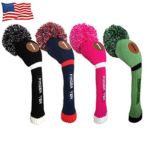 FINGER TEN Pom Pom Golf Headcovers Driver Fairway Hybrid Wood, Vintage Knit Black Blue Pnk 1 3 5 Men Women Set (Fairway, Hot Pink/White) ()