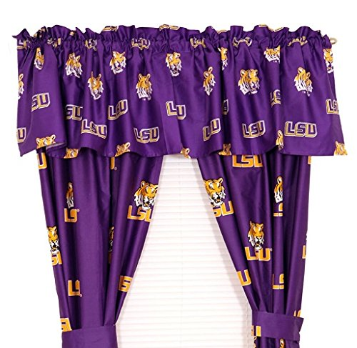 LSU Tigers - Set of (2) Printed Curtain Valance/Drape Sets (Drape Length 63'') To Decorate Two Windows - Save Big By Bundling! by College Covers