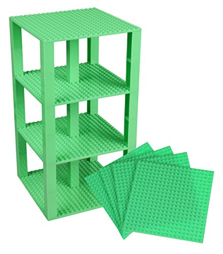 Strictly Briks Classic Baseplates 6 x 6 Brik Tower 100% Compatible with All Major Brands   Building Bricks for Towers and More   4 Pastel Green Stackable Base Plates & 30 Stackers
