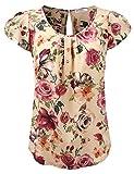 JJ Perfection Women's Petal Short Sleeve Woven Blouse TAUPEMAUVE XL