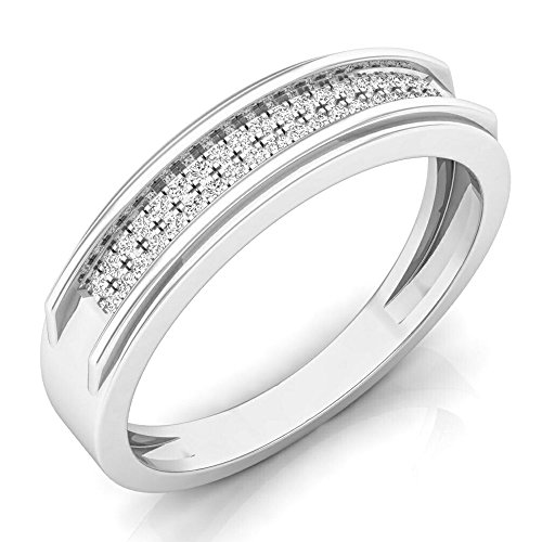 0.15 Carat (ctw) 10K White Gold Round Diamond Men's Micro Pave Hip Hop Wedding Band (Size 10) by DazzlingRock Collection