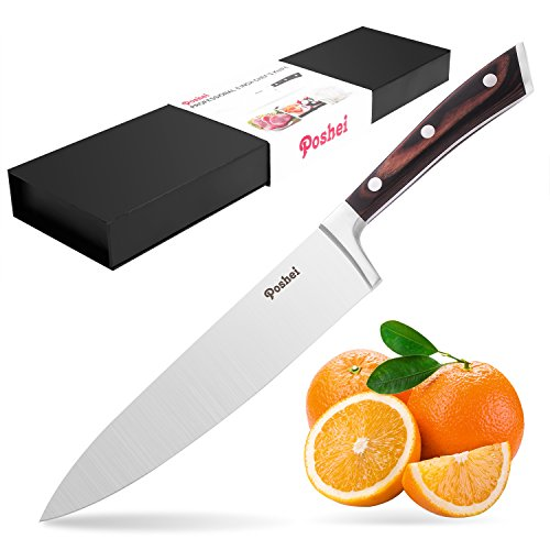 Chef Knife, Poshei 8 inch Multi-purpose High Carbon Stainless Steel Kitchen Knife with Razor Sharp Blade and Balanced Ergonomic Pakka Wood Handle with Gift Box - Chefs Stainless Steel Chefs Knife