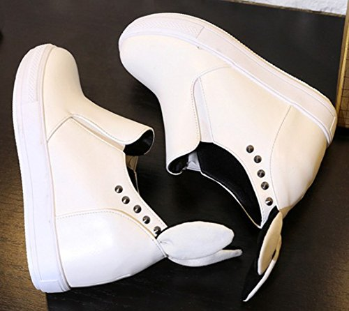 Aisun Femmes Casual Clouté Bout Rond Talon Compensé Caché Mocassins Slip Sur Plate-forme Espadrilles Chaussures Blanc