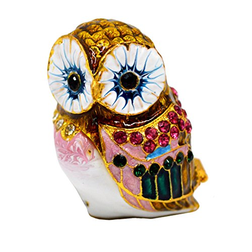 - CLARA Bird Jewelry Box Owl Crystal Studded Trinket Box Sparkling Rhinestone Enamel Home Decoration Collectible Figurine Coffee