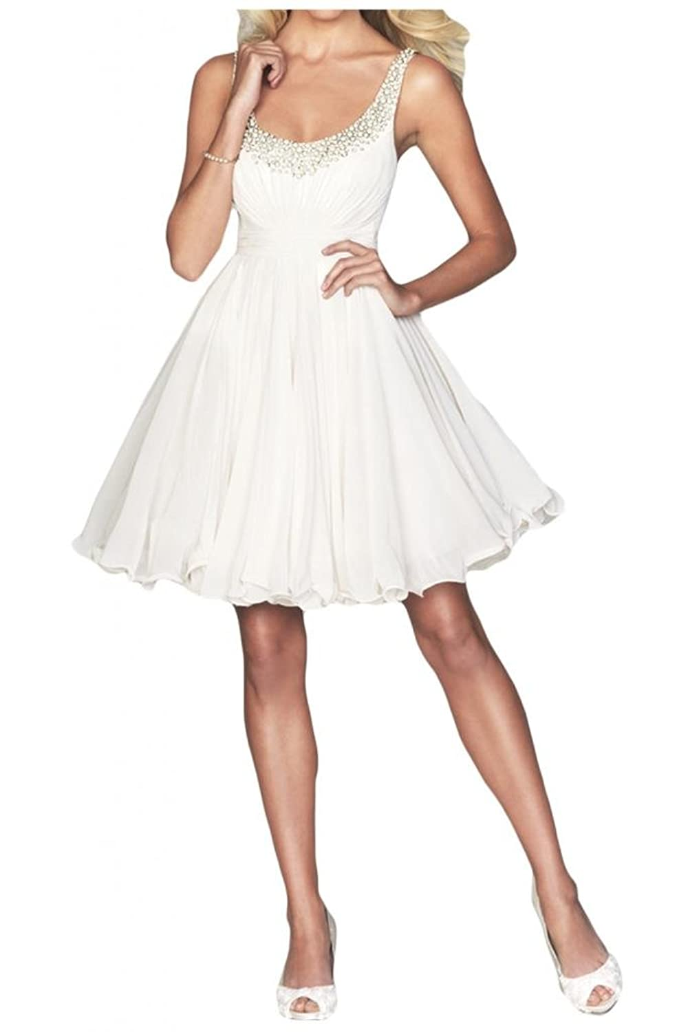Gorgeous Bride Chiffon Short Bridesmaid Dresses Spaghetti Straps Rhinestones