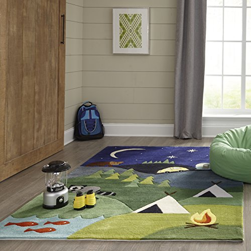 Momeni Rugs LMOJULMJ31BLU4060 Lil' Mo Whimsy Collection Kids Hand Carved & Tufted Area Rug, 4' x 6', Blue by Momeni Rugs (Image #2)