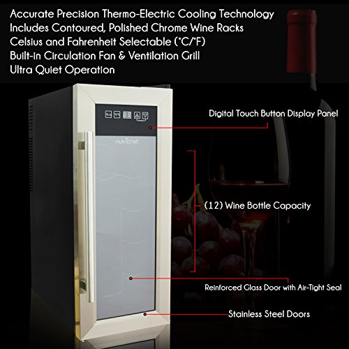 NutriChef 12 Bottle Thermoelectric Wine Cooler / Chiller | Counter Top Red And White Wine Cellar | FreeStanding Refrigerator, Quiet Operation Fridge | Stainless Steel by NutriChef (Image #2)