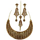 Jewelshingar Antique Gold Plated Cubic Zirconia Stones Necklace set For Girls ( 81048-nz )