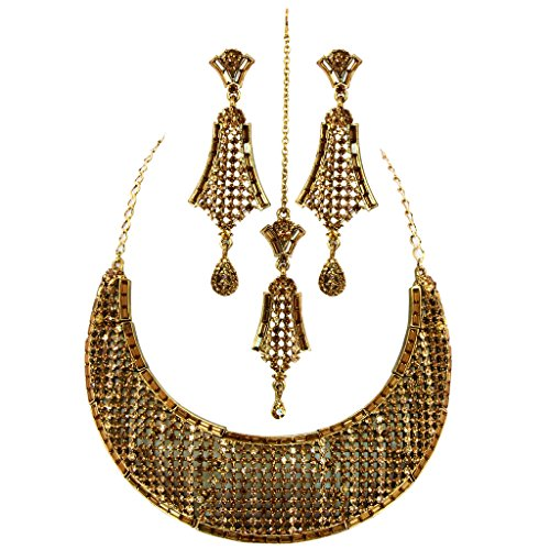 Jewelshingar Antique Gold Plated Cubic Zirconia Stones Necklace set For Girls ( 81048-nz ) by Jewelshingar