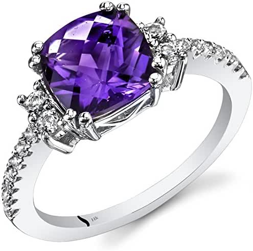 14K White Gold Amethyst Ring Cushion Checkerboard Cut 2.00 Carats Sizes 5 to 9