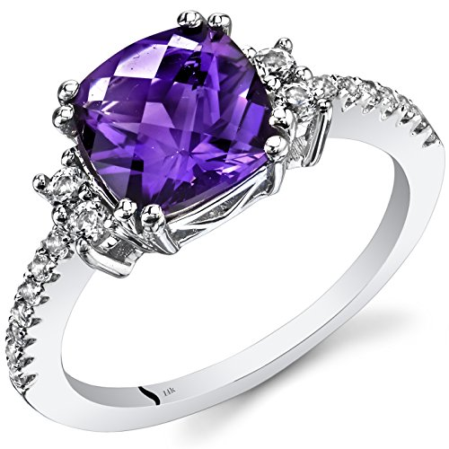 14K White Gold Amethyst Ring Cushion Checkerboard Cut 2.00 Carats Size ()