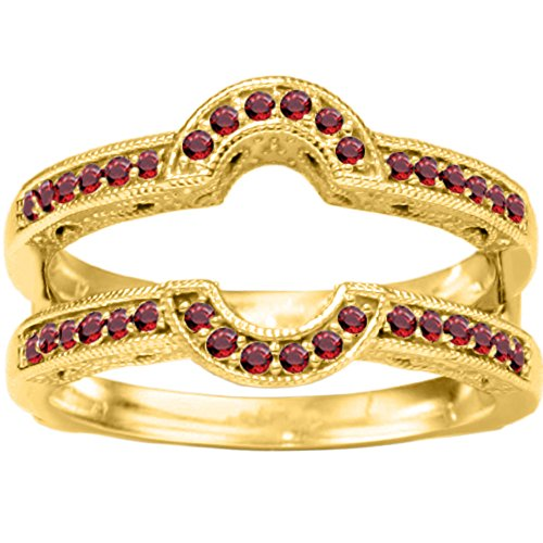 1/5 ct. Ruby Genuine Ruby Oval Shaped Halo Style Ring Guard in Yellow Plated Sterling Silver (0.21 ct. twt.) by TwoBirch