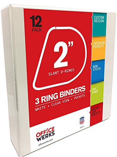 Officewerks 3 Ring Binders, 2 Inch Slant-D Rings, White, Clear View, Pockets - 12 (White Box Ring Binder)