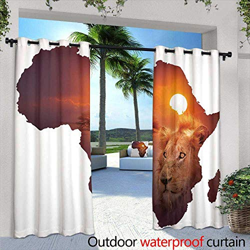 Fashions Drape,Africa Stile Ornament Background,W96 x L108 for Patio Light Block Heat Out Water Proof Drape (Versace Stil)