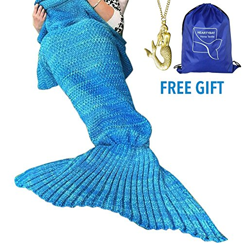 heartybay Crochet Mermaid Tail Blanket for Adult, Super Soft All Seasons Sleeping Mermaid Blanket (71'x35.5') - Blue