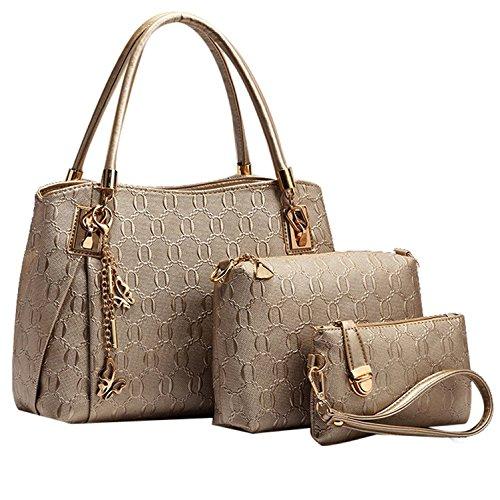 Women 3pcs Tote Bag PU Leather Handbag Purse Bags Set - 7