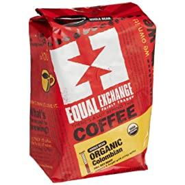Equal exchange organic coffee, colombian, whole bean, 12-ounce bag (pack of 3) 1 full city roast whole bean coffee fairly traded