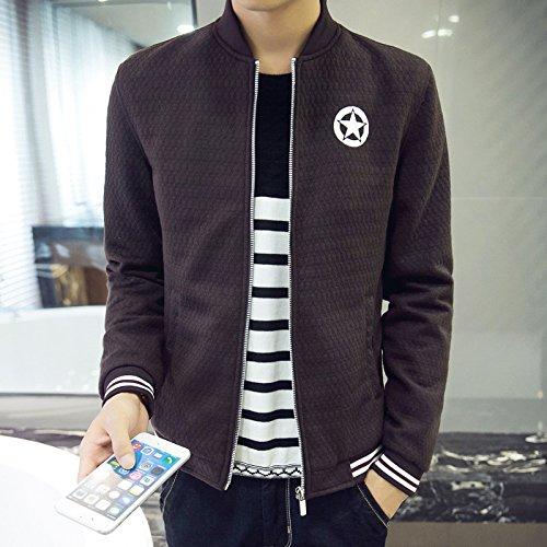 Hombres chaqueta casual hombres distan mucho de estilo casual para hombres tejida de Sau, Brown ,M
