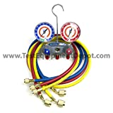 Yellow Jacket 49831 Titan 2-Valve Test and Charging Manifold degrees F, psi Scale, R-134A/404A/407C Refrigerant, Red/Blue Gauges