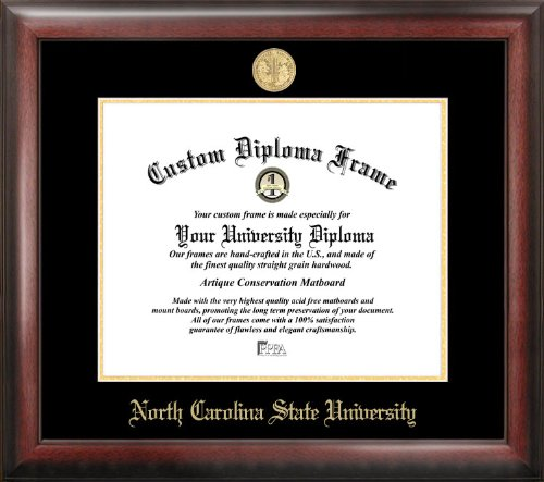 "Campus Images NC992GED ""North Carolina State University Embossed Diploma"" Frame, 11"" x 14"", Gold from Campus Images"