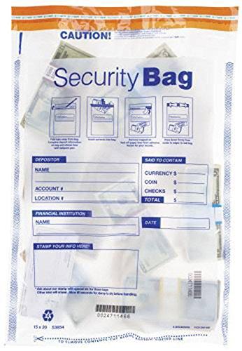 EGP Large Clear Single Pocket Bank Deposit Bag
