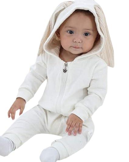 Fräulein Fox Bebé Primavera y Otoño Mameluco con Capucha Encantador Animales Pelele Rompers Moda Monos Jumpsuits