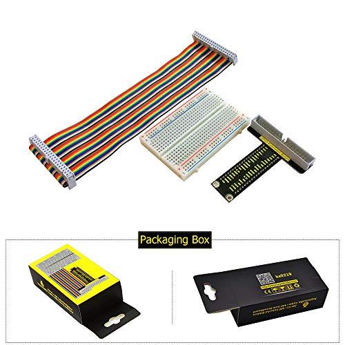 KEYESTUDIO GPIO Breakout Kit for Raspberry Pi - Assembled Pi Breakout + Rainbow Ribbon Cable + 400 Tie Points Solderless Breadboard