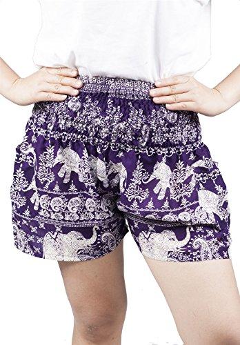 Lofbaz Women's Rayon Elephant Shorts Smock Dark Purple S