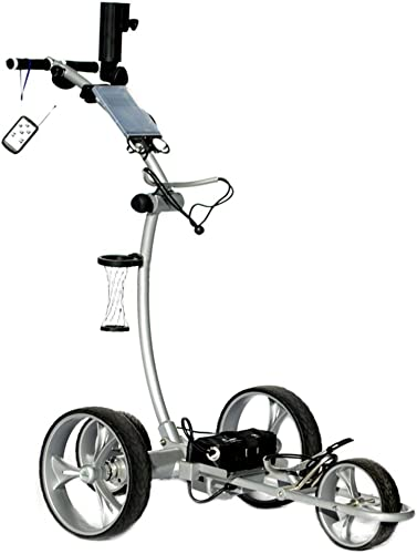 Cart Tek Gri-1500Li Silver Remote Power Electric Golf Caddy with Free Accessories