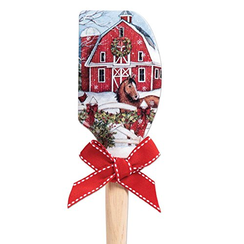 Brownlow Gifts 66114 Christmas Silicone Spatula, 12.5 Inches, Barn with Horse]()