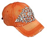 Olive & Pique Women's Large Horizontal Crystal Flower Distressed Baseball Cap (Burnt Orange)