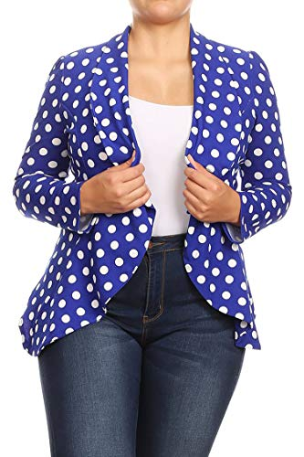 Solid Print Plus Size Casual Comfy Open Front Jacket Blazer/Made in USA Medium Polka Royal Blue XL