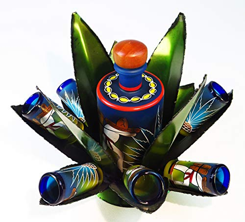 Mexican Shot Glass Tequila Making Scene, hand painted Bottle set with hand made metal Agave cactus display rack, set of 6, -