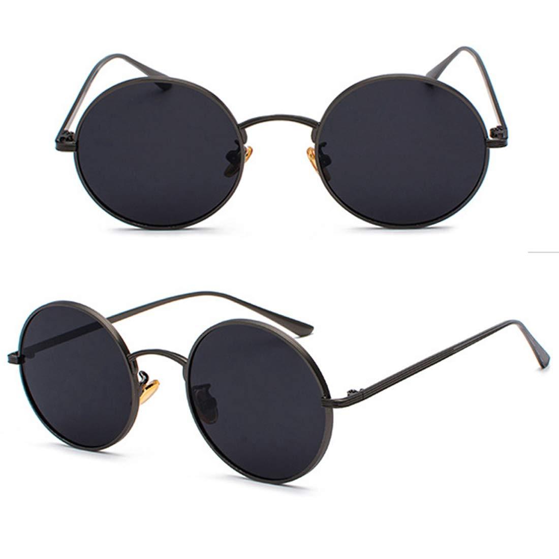 COASION Vintage Round Metal Sunglasses John Lennon Style Small Unisex Sun Glasses (Black Frame/Grey Lens)