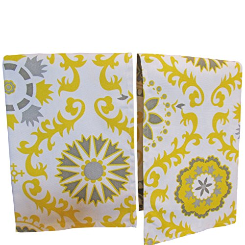 Crabtree Collection Premium Quality Set of 2 Kitchen Dish Towels 100% Cotton Absorbent Tea Towels - Classy Gray Yellow Medallion Design - Ideal 18