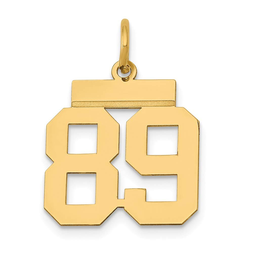 14K Yellow Gold Small Polished Number 89 Charm