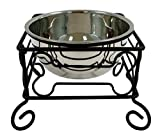 YML 10-Inch Black Wrought Iron Stand with Single Stainless Steel Feeder Bowl