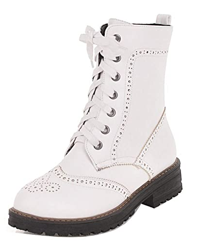 Easemax Femme Classique Chaussure Montante Talon Chunky Martin Bottines  Blanc 34 EU 109c83ef19c9