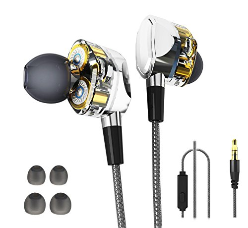 Dual Dynamic Headphone,In-ear Earphone with Mic Deep Heavy Bass and Noise Reduction Suitable for Rock/Country/Hip-Hop/Jazz/Pop