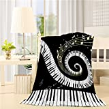 COLORSUM Music Decor Soft Plush Throw Blanket 60x80 inch Printed Flannel Fleece Blanket for Bedroom Living Room Couch Bed Sofa - Abstract Musical Notes with Piano
