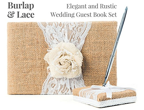 Rustic Wedding Guest Book Made of Burlap and Lace - Includes Burlap Pen Holder and Silver Pen - 120 Lined Pages for Guest Thoughts - Comes in Gift Box (White Rose) ()