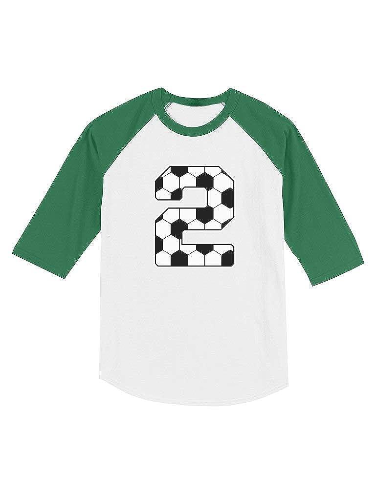 2nd Birthday Gift 2 Year Old Soccer Fan Toddler Raglan 3//4 Sleeve Baseball Tee