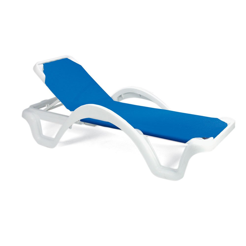 Case of 14 Grosfillex Catalina Stacking Adjustable Resin Sling Chaise - White Frame - Blue Sling