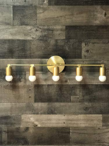 Wall Sconce Gold Raw Brass 5 Bulb Vanity Light Fixture Bathroom Lighting Mid Century Modern Fixture Contemporary Lighting ()