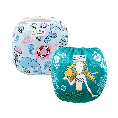 ALVABABY Baby Swim Diapers 2pcs One Size Reuseable & Adjustable 0-24 MO. 10-40lbs Baby Shower Gifts SWD01-08