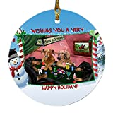 Home of Dachshund 4 Dogs Playing Poker Photo Round Christmas Ornament